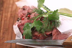 Fresh meat beef tenderloin. With spice Stock Images