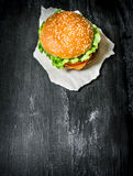 Fresh meat Burger with vegetables.   Top view. Royalty Free Stock Photos