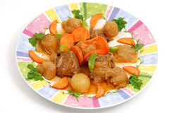 Fresh meat cooked with onions. Stifado dish Greek recipe.. fresh meat cooked with onions Stock Images