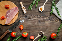 Fresh meat in cooking steak concept wooden background top view mock up. Fresh meat in cooking steak concept on wooden kitchen table background top view mock up Royalty Free Stock Images