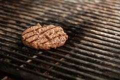 Fresh meat cutlet in a frying pan grill. Copy space Stock Photos