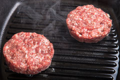 Fresh meat cutlets in a frying pan grill Royalty Free Stock Photo