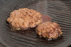 Fresh meat cutlets in a frying pan grill Royalty Free Stock Image