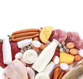 Fresh meat and dairy products. Protein products Stock Image