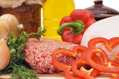 Fresh meat and different components Royalty Free Stock Photo