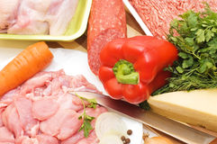 Fresh meat and different components Stock Images