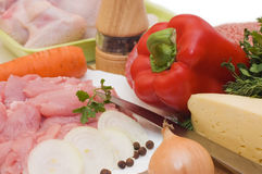 Fresh meat and different components Stock Photo