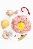 Fresh Meat with Egg Tartar Stock Photos