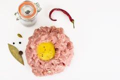 Fresh Meat with Egg Tartar. Studio Photo Stock Photos