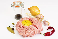 Fresh Meat with Egg Tartar. Studio Photo Stock Images