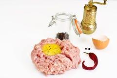 Fresh Meat with Egg Tartar. Studio Photo Stock Photo
