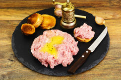 Fresh Meat with Egg Tartar. Studio Photo Royalty Free Stock Photography