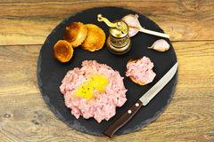Fresh Meat with Egg Tartar. Studio Photo Royalty Free Stock Images