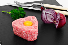 Fresh Meat with Egg Tartar. Studio Photo Royalty Free Stock Photos