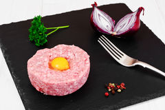 Fresh Meat with Egg Tartar. Studio Photo Royalty Free Stock Image
