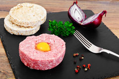 Fresh Meat with Egg Tartar Stock Photography