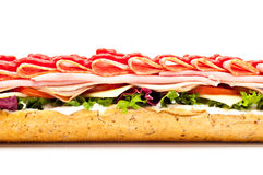Fresh meat feast salad baguette sub isolated Stock Image