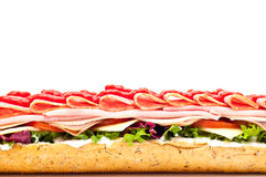 Fresh meat feast salad baguette sub isolated Royalty Free Stock Photos