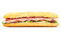 Fresh meat feast salad baguette sub isolated Royalty Free Stock Photo