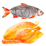 Fresh meat and fish stock images