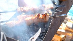 Fresh meat is grilled. Outdoors. Close-up stock video