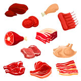 Fresh meat icons of beef, pork, poultry, mutton. Meat isolated icons. Pork bacon and tenderloin or chop, mutton ribs, beefsteak, beef raw filet and steak, t-bone Royalty Free Stock Photos