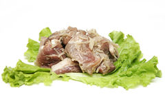Fresh meat kebab and salad. RUSSIAN fresh meat kebab and salad Stock Photo