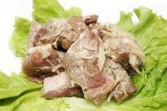 Fresh meat kebab and salad Stock Photos