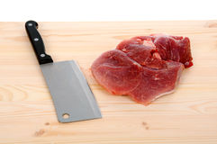 Fresh meat with knife Royalty Free Stock Photography
