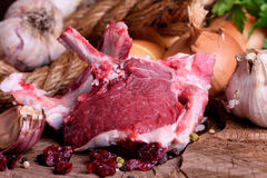Fresh meat lamb. Fresh meat of a young lamb Stock Photos