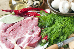 Fresh meat with mushrooms spices herbs. Fresh meat with mushrooms spices and herbs Stock Photos