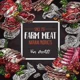 Fresh meat farm food chalkboard poster design. Fresh meat natural farm food chalkboard poster. Beef steak, pork chop, ham, bacon, chicken, ground meat cutlet Royalty Free Stock Images