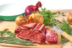 Fresh meat with onions Stock Photo