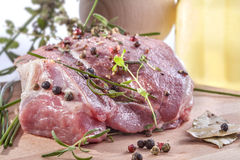 Fresh meat. With pepper, mint, rosemary, thyme and spices Royalty Free Stock Photo