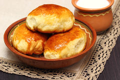 Fresh meat pies and milk Stock Image