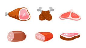 Fresh meat products set Stock Photography