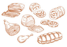 Fresh meat products sketches set. Tasty nutritious roasted beef tenderloin and dry cured ham, chicken leg and baked meatloaf, sausages and wurst. Sketches of Stock Photos