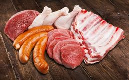 Fresh Raw Meat on Background. Fresh meat raw group objects background market Royalty Free Stock Photo