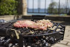 Fresh meat is roasted on a barbecue with onions. stock photo