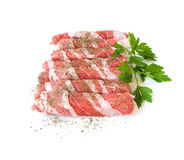 Fresh meat rolls with spices isolated on white background Royalty Free Stock Photography