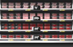 Fresh meat for sale display on shelf in supermarket. Vector , illustration stock illustration