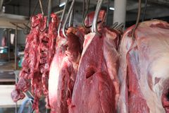 Fresh meat for sale display on stall market royalty free stock photography
