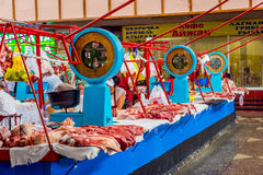 Fresh meat for sale at Green bazaar, Almaty. ALMATY, KAZAKHSTAN - JULY 15: Fresh meat for sale from butcher's at Green bazaar. July 2016 Stock Photos