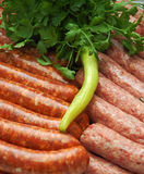 Fresh meat and sausage Stock Photos