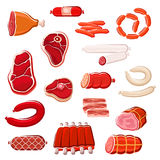 Fresh meat and sausage icon set for food design Royalty Free Stock Images