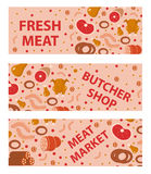 Fresh meat and sausages banner set, flat style.  horizontal , board, with the inscription butcher shop, market Stock Images