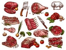 Vector sketch icons of fresh butchery meat Royalty Free Stock Photo