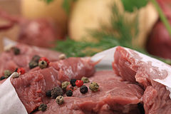 Fresh meat with spice. Fresh meat beef tenderloin with spice Royalty Free Stock Photography