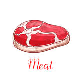 Fresh meat steak vector sketch isolated icon Royalty Free Stock Photography