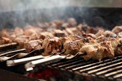 Fresh meat on a steel skewer in a brazier Royalty Free Stock Image